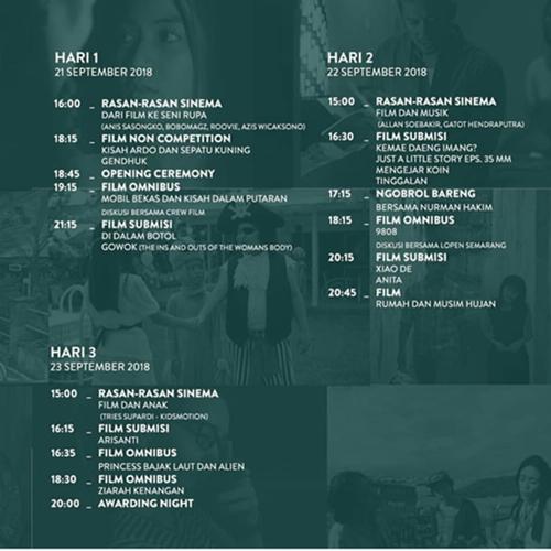 Jadwal Acara di Pekan Film Semarang 2018