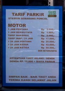 Tarif Parkir Sepeda Motor Stasiun Poncol dan Stasiun Semarang Tawang